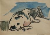 <h5>Andrzej Wróblewski, Krowa, 21 x 29,6 cm, akwarela, papier, Galeria aTAK, Fot.: Filip Klin</h5>