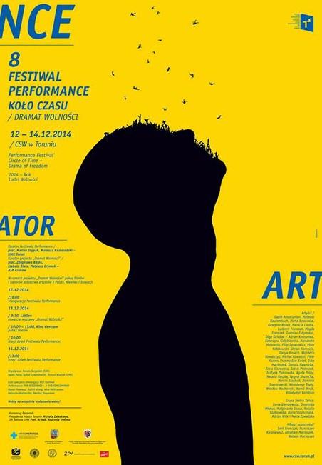 plakat 8. Festiwalu Performance KOŁO CZASU – DRAMAT WOLNOŚCI