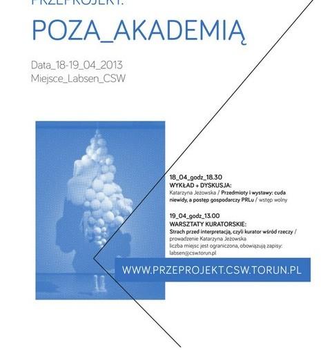 Plakat warsztatów i wykładu Katarzyny Jeżowskiej