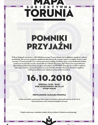 Plakat Subiektywna Mapa Torunia: Pomniki Przyjaźni
