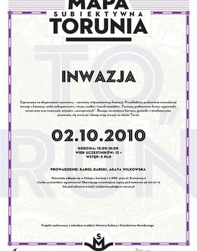 Plakat warsztatów subiektywna mapa Torunia
