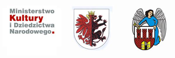 Logo Ministerstwa Kultury i Dziedzictwa Narodowego, logo województwa kujawsko-pomorskiego, logo Urzędu Miasta Torunia