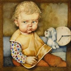 Portret Agaty – I / Portrait of Agata – I, 1975, olej na płycie pilśniowej / oil on fibreboard, 23 × 22,5 cm