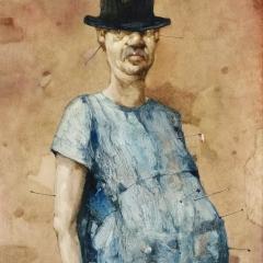 Obraz 1301 / Autoportret / Painting 1301 / Self-Portrait, 1989, olej na płycie pilśniowej / oil on fibreboard, 54 × 65 cm