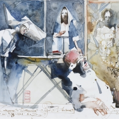 Obraz 598 / Gmina Zakopane – Witkacemu. Pieśń Abelone / Painting 598 / The District of Zakopane – For Witkacy. Abelone's Song, 1994, akwarela / watercolor, 64 × 44 cm