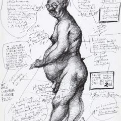 "Studium autoportretowe w pełni nagości w ""Pension Domizil"" w Wiedniu / Study for a Completely Nude Self-Portrait at ""Pension Domizil"" in Vienna, 1988, długopis / pen, 23 × 59 cm"