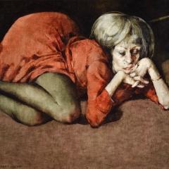 Portret Kryśki / Portrait of Kryśka, 1981, olej na płycie pilśniowej / oil on fibreboard, 45,5 × 50 cm