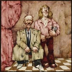 Dwa pokolenia / Two Generations, 1980, olej na płycie pilśniowej / oil on fibreboard, 18,3 × 18,3 cm
