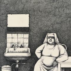 Szpital – Podejrzane piękno prowincji. Siostra Dalmara / Hospital – The Suspicious Beauty of the Provinces. Sister Dalmara, 1969, rapidograf / technical pen, 27,5 × 42 cm