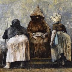 Obraz 2433 (Łagów – Posługa) / Painting 2433 (Łagów – Service), 1999, olej na płycie pilśniowej / oil on fibreboard, 92 × 100 cm