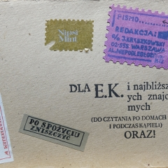 Jacek Kryszkowski, Listy do E.K. i najblizszych znajomych, ok. 1984, maszynopis, tekturowa teczka, 30x21 cm. Dzięki uprzejmości Doroty Monkiewicz